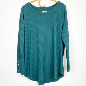 Chaser | Teal Waffle Knit Thermal Top